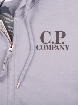 Толстовка худи C.P.Company Grey Full Zip Logo Hoody