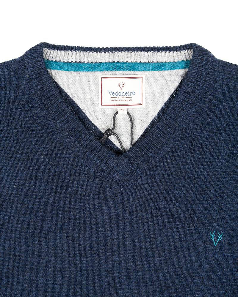 Свитер Vedoniere V-neck Wool Navy Sweat.