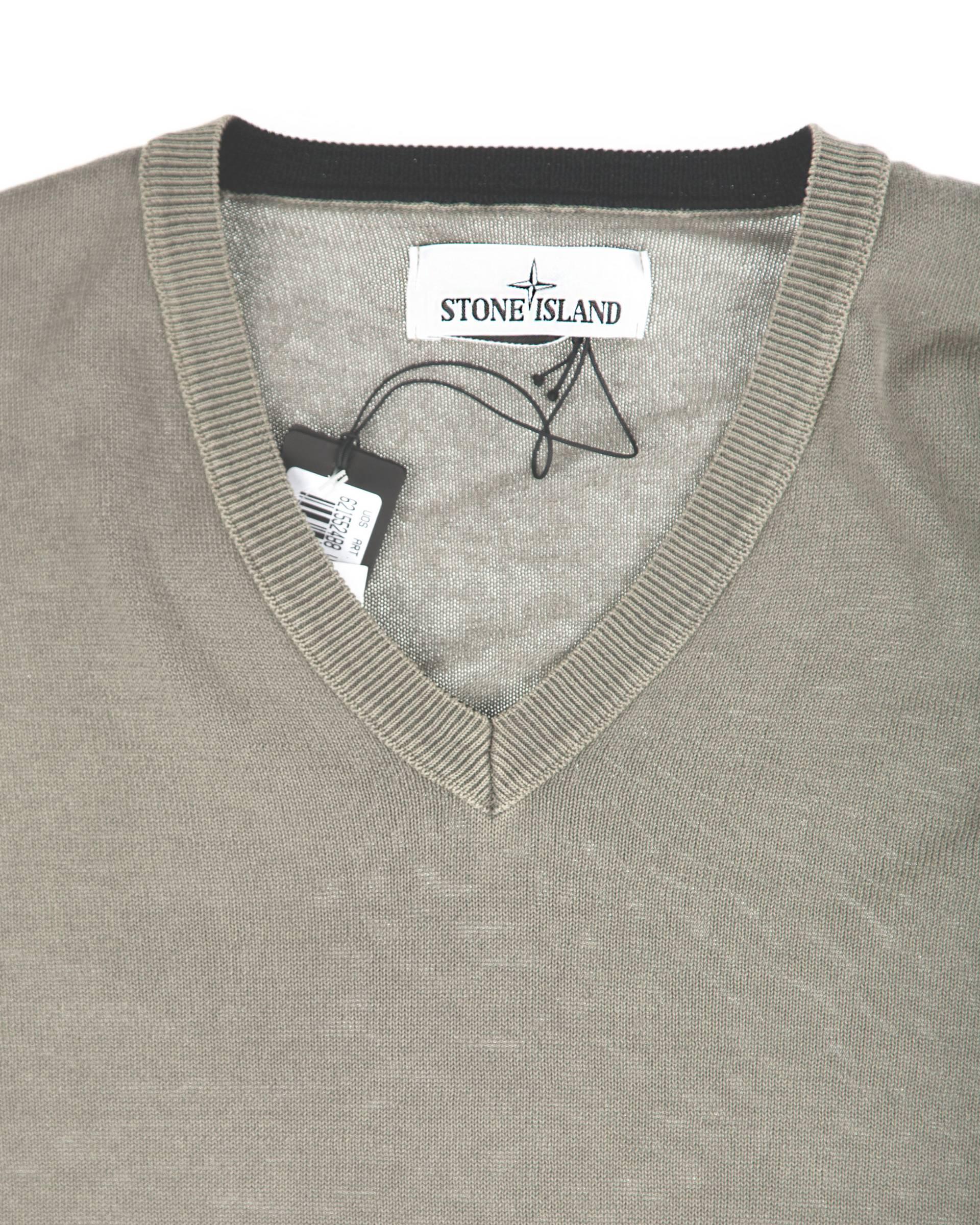 Свитер Stone Island Хаки V-neck