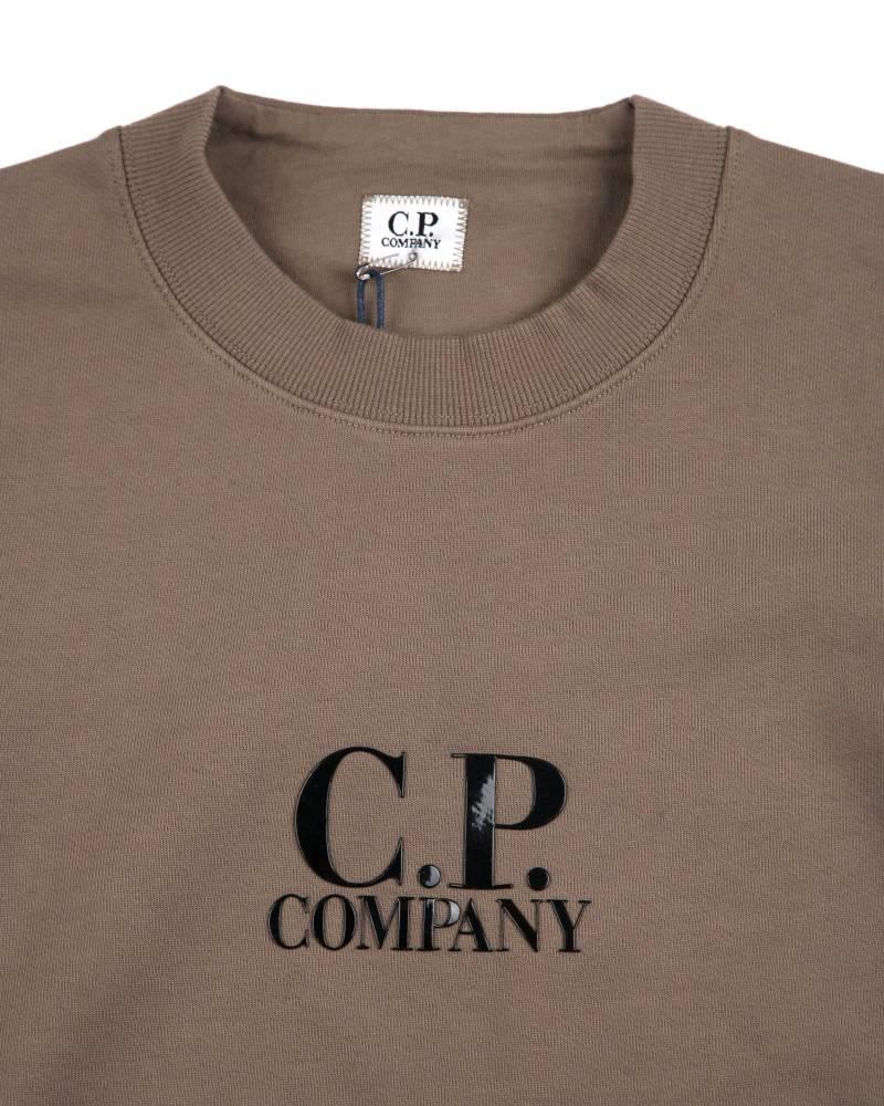 Толстовка C.P.Company Diagonal Fleece Logo Crew Neck Army Green