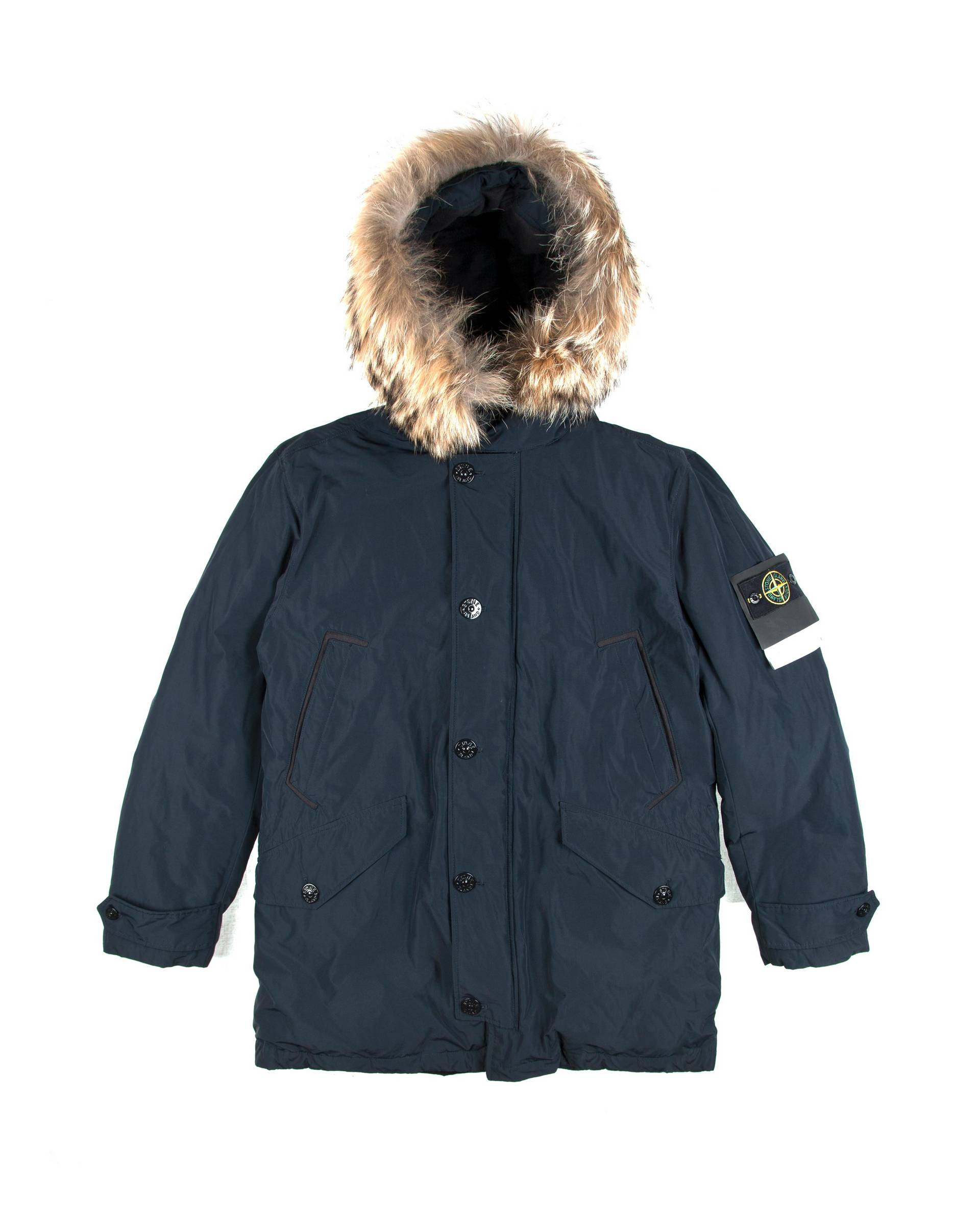 Парка Stone Island Micro Reps With Fur Navy Parka
