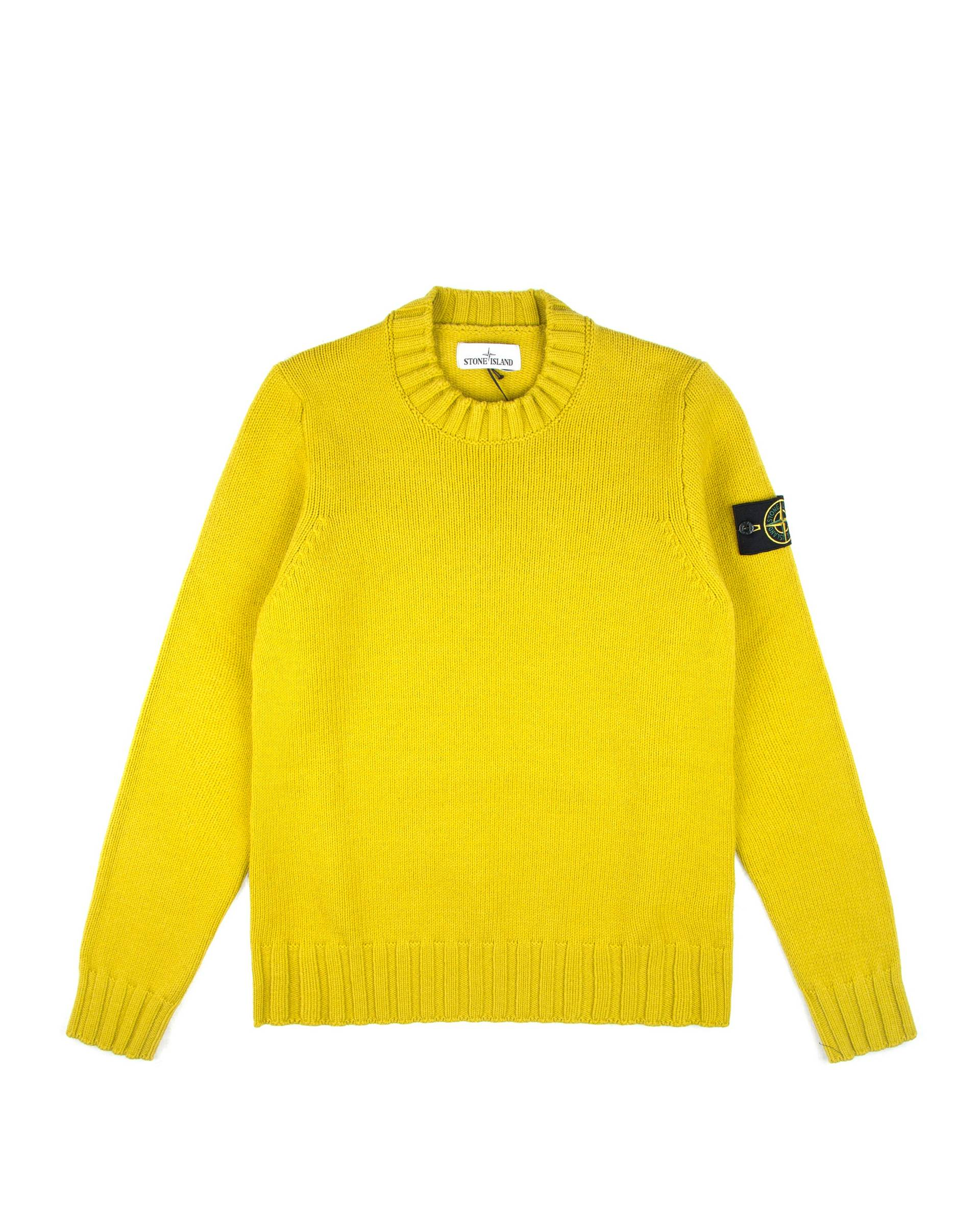 Свитер Stone Island Green-Mustard R-Neck Wool Sweat