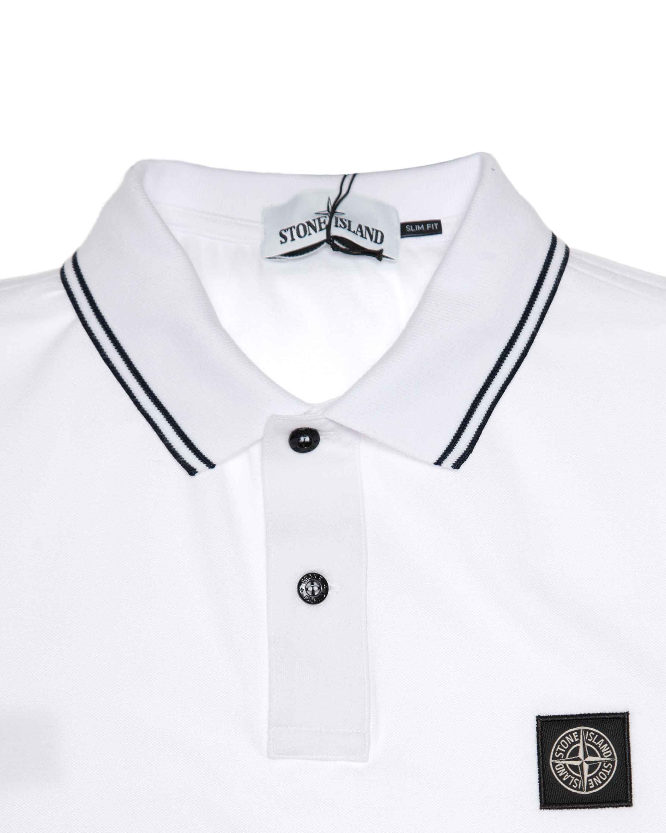 Поло Stone Island Patch Program White Cotton Polo