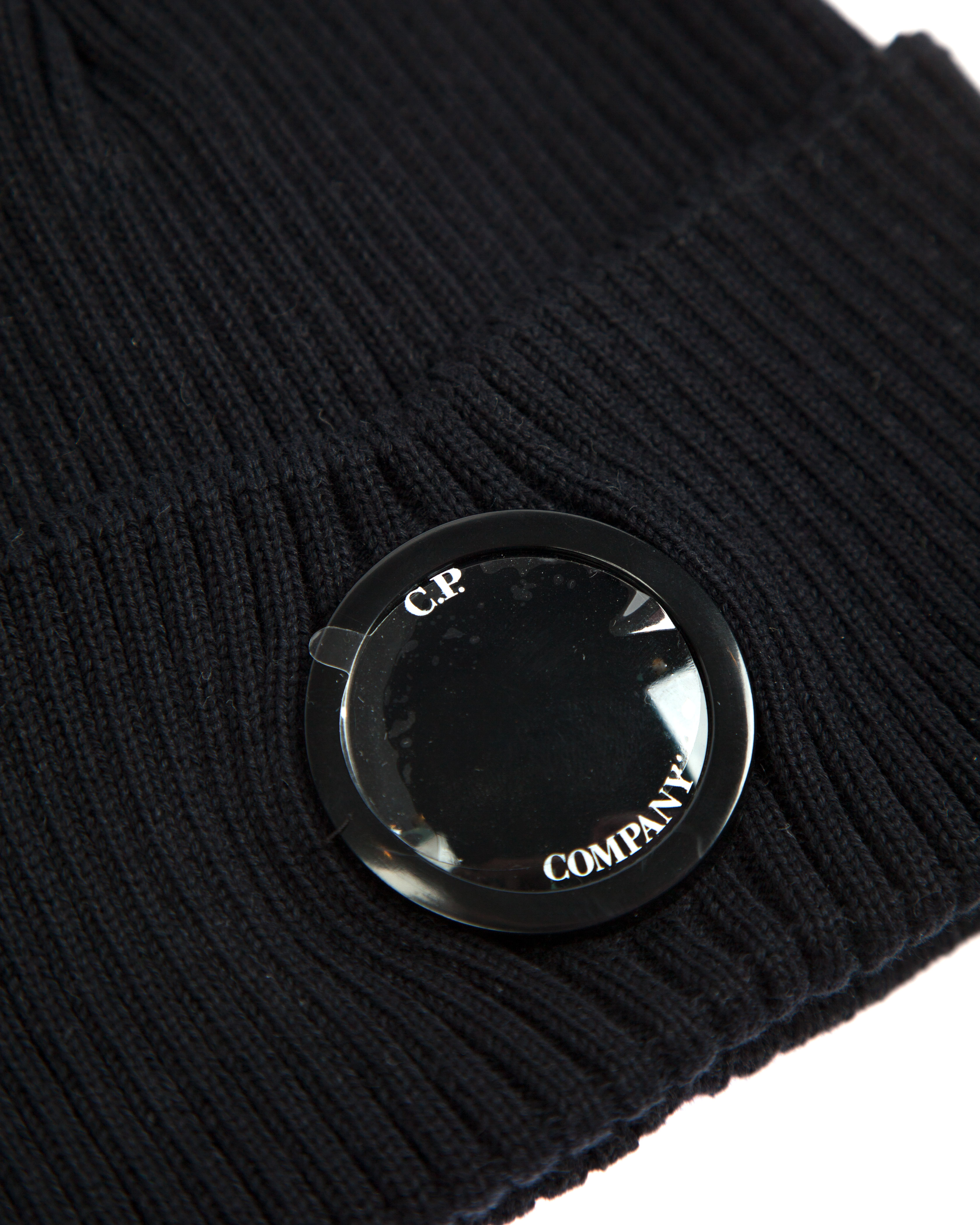 Шапка C.P.Company Lens Cotton Beanie Hat Black