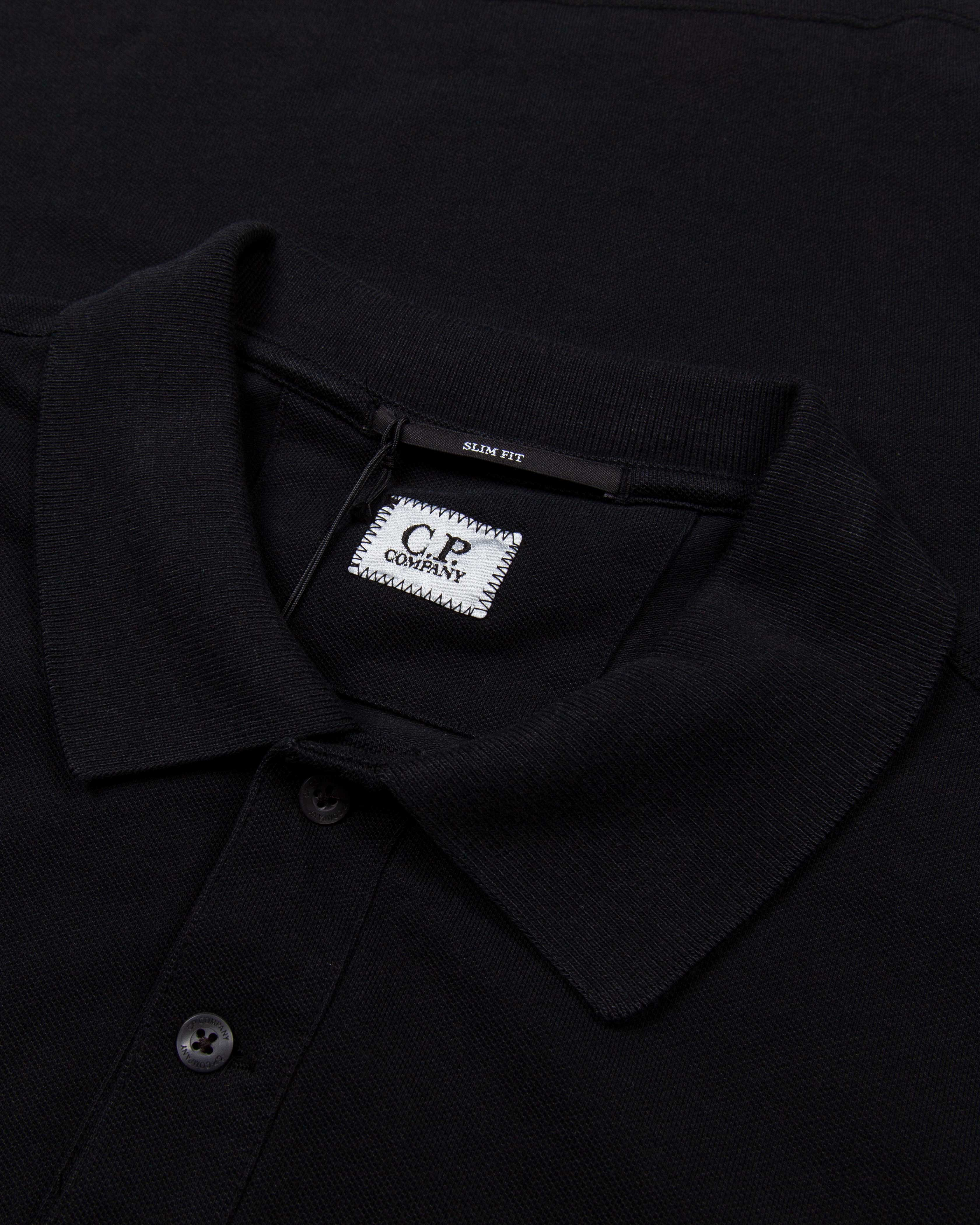C.P.COMPANY STRETCH PIQUET POLO SHIRT IN BLACK